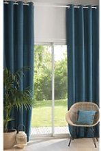 Single Peacock Blue Eyelet Curtain 140x300