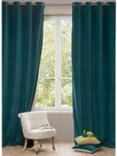 Single Peacock Blue Velvet Eyelet Curtain 140x300