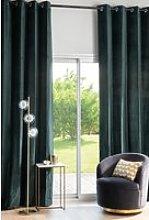 Single pine green velvet eyelet curtain 140x300cm