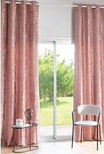 Single pink velvet eyelet curtain 140x300cm
