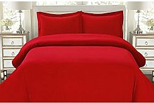 Single Red Polycotton Percale 50/50 Duvet Cover