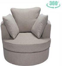 Single Seater Corner Swivel Sofa Armchair, Light
