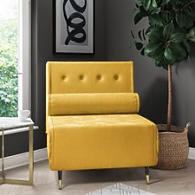 Single Sofa Bed in Yellow Velvet with Bolster