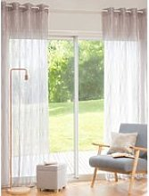 Single Taupe and Gold Net Eyelet Curtain 140x250