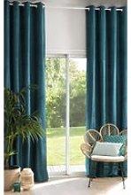 Single Teal Velvet Eyelet Curtain 140x300