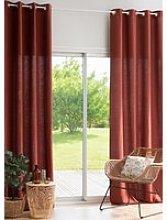 Single Terracotta Linen Eyelet Curtain 130x300