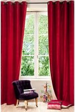 Single Velvet/Linen Double Sided Eyelet Curtain