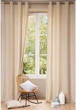 Single Washed Beige Linen Eyelet Curtain 140x300
