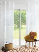 Single White Eyelet Curtain with Graphic Print