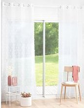 Single White Net Eyelet Curtain with Pom Poms