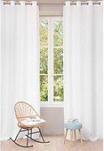 Single White Washed Linen Eyelet Curtain 130x300