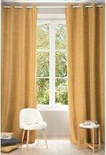 Single Yellow Ochre Eyelet Curtain 140x300