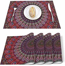 Singledog Red Table Placemats Set of 6, Table Mats