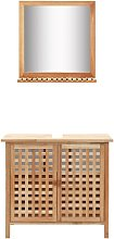 Sink Cabinet with Mirror Solid Walnut Wood VD13461