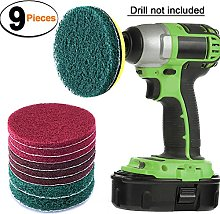SIQUK 9 Pieces Scrub Pads 4 Inches Drill Power