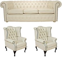 Sir Chesterfield 3 Piece Leather Sofa Set
