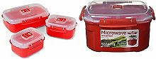 Sistema Microwave Heat and Eat 3 Pack, Red/Clear,