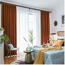 Siunwdiy Orange Solid Matt Velvet Curtain, Thermal