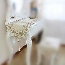 SIWANG Table Runner,Modern Elegant Beige Grid