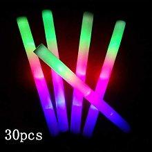siwetg 30 Pcs Light-Up Foam Sticks LED Soft Batons