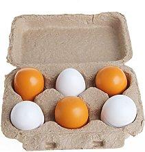 siwetg 6pcs Wooden Eggs Yolk Pretend Play Kitchen