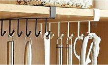 Six-Hook Under Shelf Mug Holder: Four