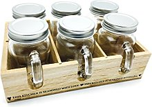 Six Spice Jars & Holder Rack Handle Shabby Chic