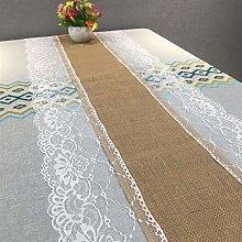 SJHQ Table Runner Linen Lace Table Runner Natural