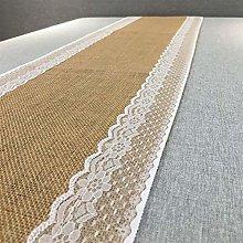 SJHQ Table Runner Linen Wedding Lace Table Runner