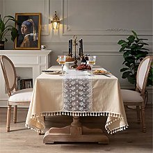 SJXCDZ Yellow tablecloth with lace tabletop Picnic