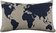 Skang Linen blend 30cm x 50cm dark blue world map