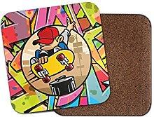 Skater Skateboarding Cork Backed Drinks Coaster