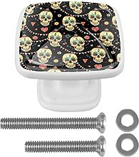Skeleton Party Drawer Knobs 4 Pack Round Glass