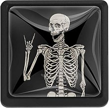 Skeleton with Rock Posing Illustration Square