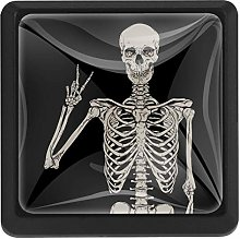 Skeleton with Victory Posing Illustration Square