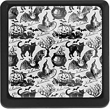 Sketch Halloween Pattern Square Cabinet Knobs