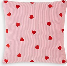 Skinnydip Embroidered Hearts Cushion, Pink