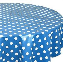 Skippys Blue Polka Dot Wipe Clean Tablecloth Easy