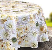 Skippys Cream Rose Wipe Clean Tablecloth Easy