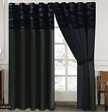 Skippys Luxury Damask Curtains Black Black 90x90