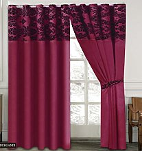 Skippys Luxury Damask Curtains Burgundy Black