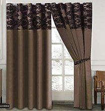 Skippys Luxury Damask Curtains Chocolate Black