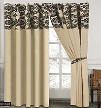 Skippys Luxury Damask Curtains Cream Black 90x90