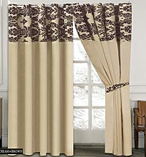 Skippys Luxury Damask Curtains Cream Brown 90x90