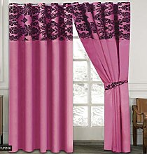 Skippys Luxury Damask Curtains Fuschia Pink Black