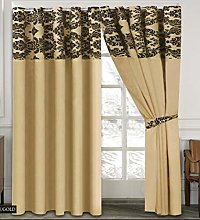 Skippys Luxury Damask Curtains Gold Black 90x90