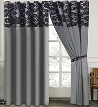 Skippys Luxury Damask Curtains Grey Black 90x90