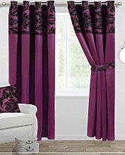 Skippys Luxury Damask Curtains Purple Black 90x90