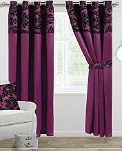 Skippys Luxury Damask Curtains Purple Black 90x90