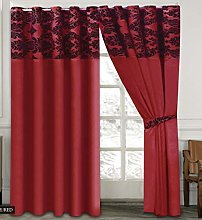 Skippys Luxury Damask Curtains Red Black 90x90
